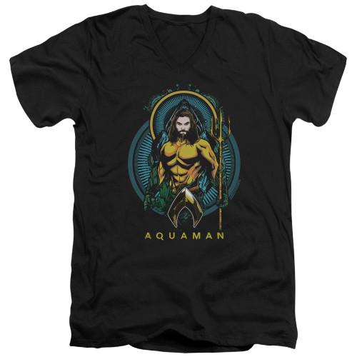 Image for Aquaman Movie V Neck T-Shirt - Aqua Nouveau