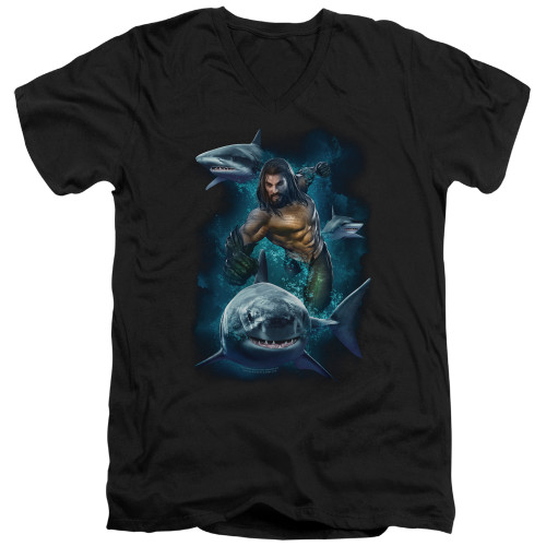 Image for Aquaman Movie V Neck T-Shirt - Swimming with Sharks