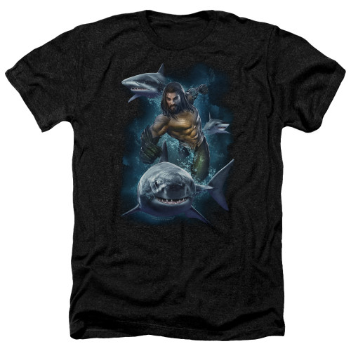 Image for Aquaman Movie Heather T-Shirt - Swimming with Sharks