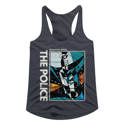 Image for The Police Message in a Bottle Juniors Racerback Tank Top