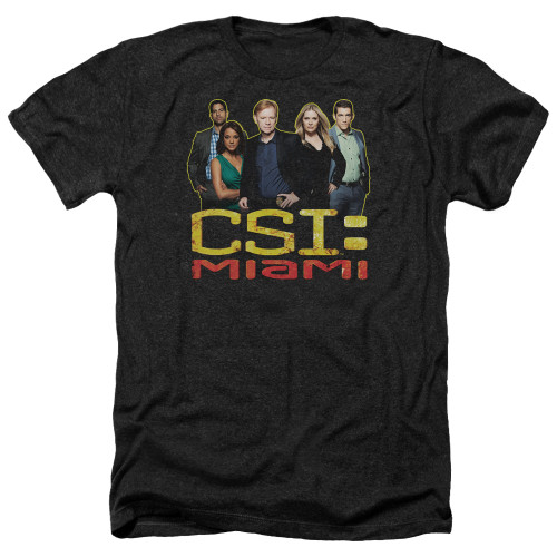 Image for CSI Miami Heather T-Shirt - The Cast in Black