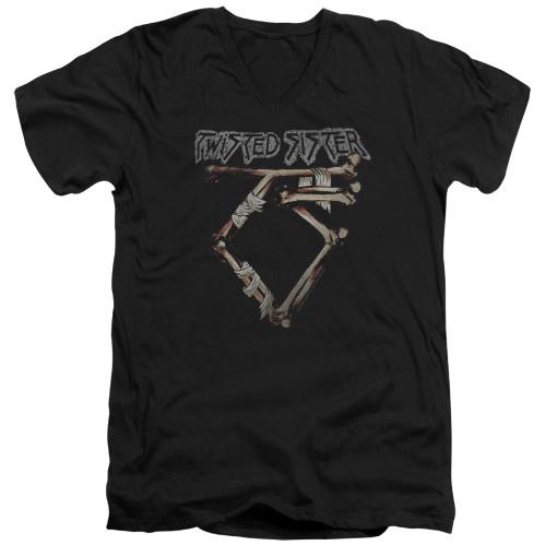 Image for Twisted Sister V Neck T-Shirt - Bone Logo