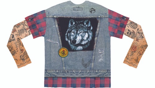 Image Closeup for Tattoo Jean Vest Costume Sublimated Long Sleeve T-Shirt