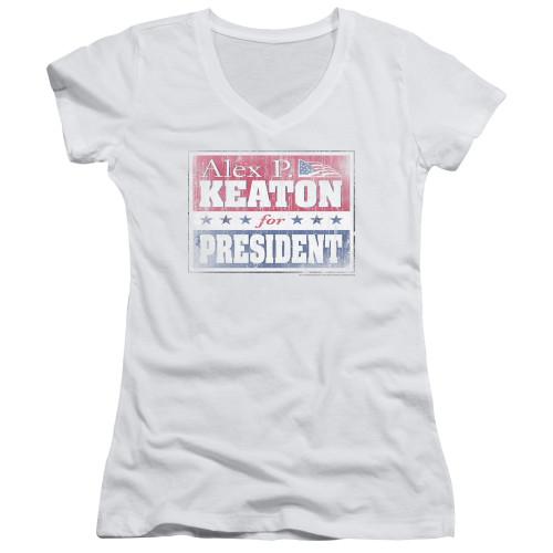 Image for Family Ties Girls V Neck T-Shirt - Alex for President