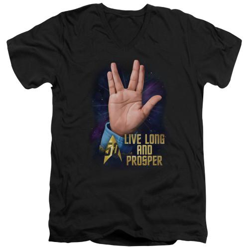 Image for Star Trek T-Shirt - V Neck - Live Long and Prosper 50th