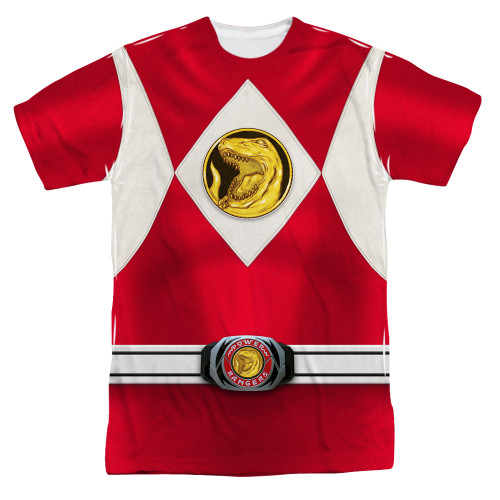 Image for Power Rangers T-Shirt - Sublimated Red Ranger Emblem 100% Polyester