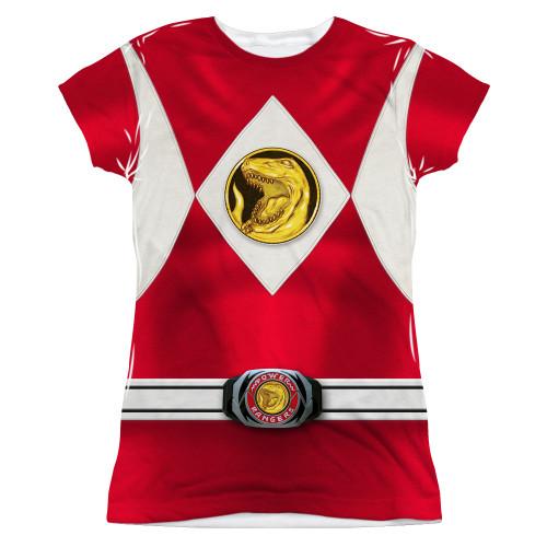 Image for Power Rangers Girls T-Shirt - Sublimated Red Ranger Emblem 100% Polyester