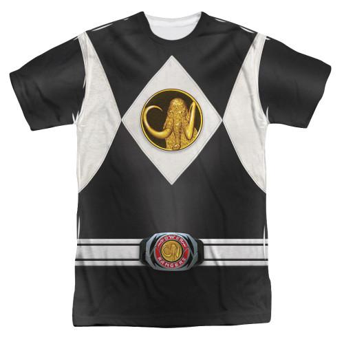 Image for Power Rangers T-Shirt - Sublimated Black Ranger Uniform 100% Polyester