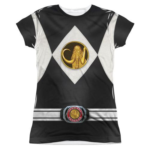 Image for Power Rangers Girls T-Shirt - Sublimated Black Ranger Uniform 100% Polyester