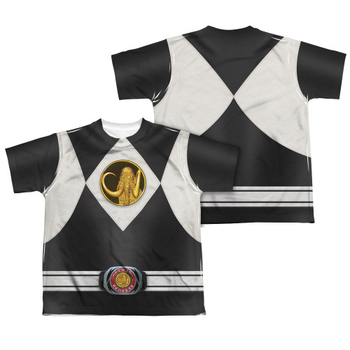 Back Image for Power Rangers Youth T-Shirt - Sublimated Black Ranger Uniform 100% Polyester