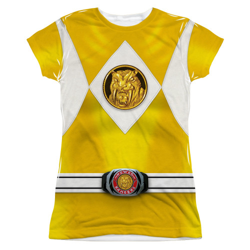 Image for Power Rangers Girls T-Shirt - Sublimated Yellow Ranger Uniform 100% Polyester