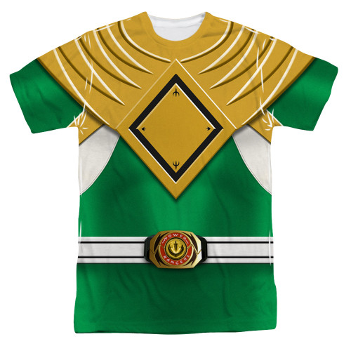 Image for Power Rangers T-Shirt - Sublimated Green Ranger Uniform 100% Polyester