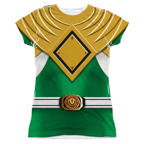 Image for Power Rangers Girls T-Shirt - Sublimated Green Ranger Uniform 100% Polyester