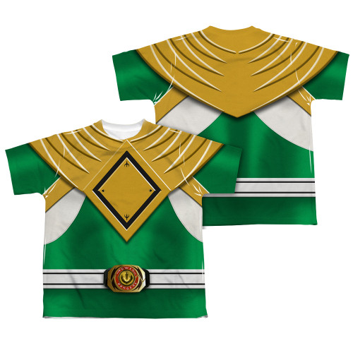 Back Image for Power Rangers Youth T-Shirt - Sublimated Green Ranger Uniform 100% Polyester