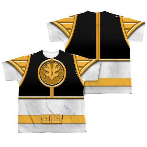 Back Image for Power Rangers Youth T-Shirt - Sublimated White Ranger Uniform 100% Polyester