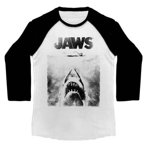 Jaws 3/4 Sleeve T-Shirt - Black and White