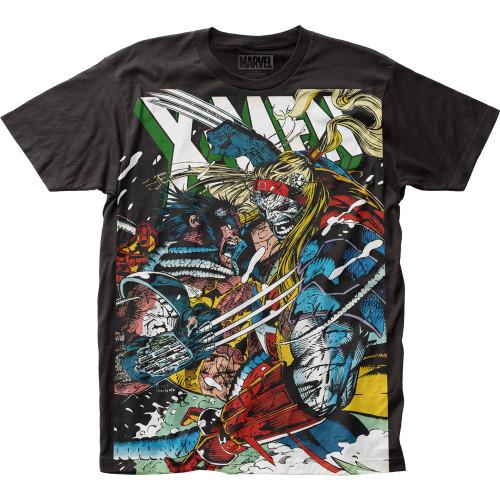 Image for X-Men Subway T-Shirt - Wolverine vs Omega Big Print