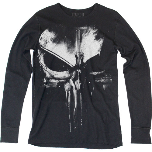 Image for Punisher Long Sleeve Thermal T-Shirt - Distressed Skull