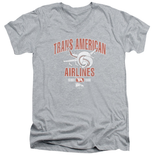 Image for Airplane V Neck T-Shirt - Trans American Airlines