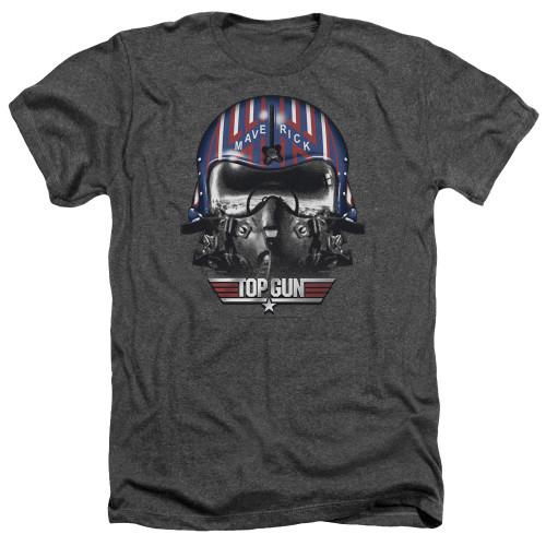 Image for Top Gun Heather T-Shirt - Mavarick Helmet