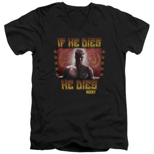 Image for Rocky V Neck T-Shirt - Rocky IV Condolences