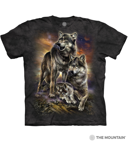 Image for The Mountain T-Shirt - Wolf Family Sunrise