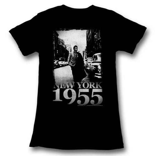 Image for James Dean Girls T-Shirt - New York 1955