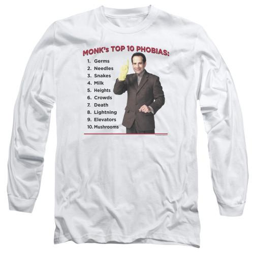Image for Monk Long Sleeve T-Shirt - Top 10 Phobias