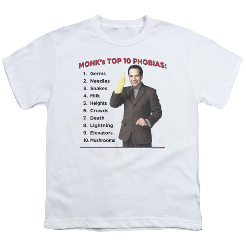 Image for Monk Youth T-Shirt - Top 10 Phobias