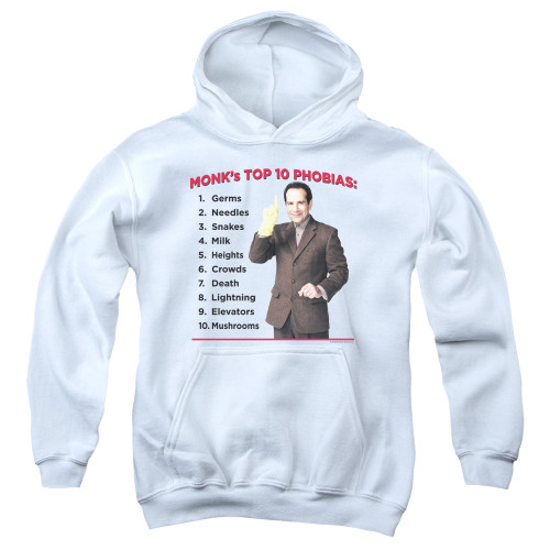 Image for Monk Youth Hoodie - Top 10 Phobias