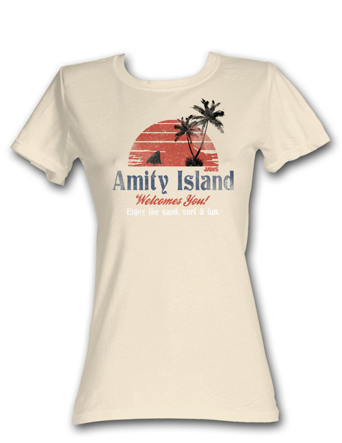 Image for Jaws Amity Island Welcomes You Girls T-Shirt