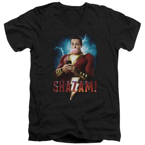 Image for Shazam Movie V Neck T-Shirt - Blowing Up