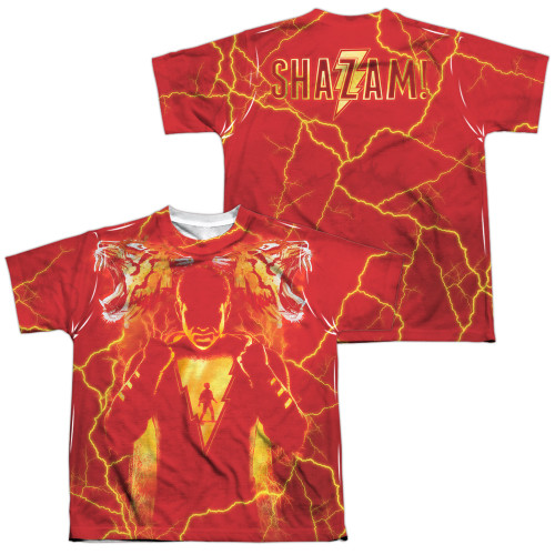 Image for Shazam Movie Sublimated Youth T-Shirt - What's Inside