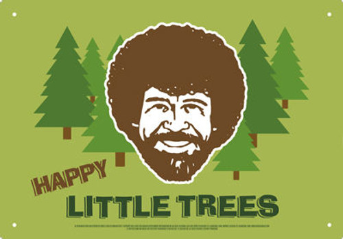Image for Bob Ross Tin Sign - Happy Little Trees