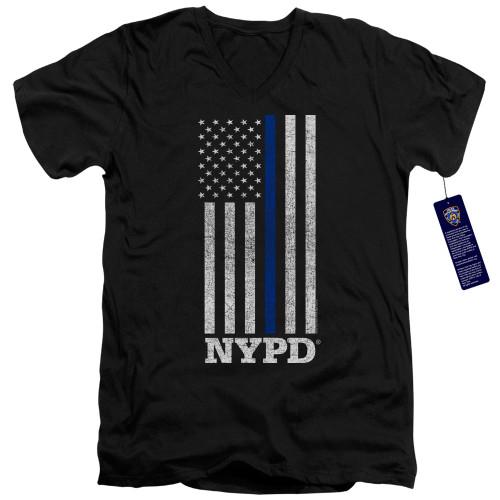Image for New York City V Neck T-Shirt - Thin Blue Line