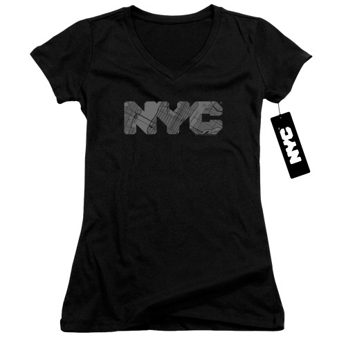 Image for New York City Girls V Neck - NYC Map Fill