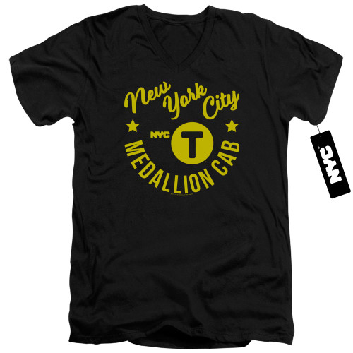 Image for New York City V Neck T-Shirt - NYC Hipster Taxi Tee