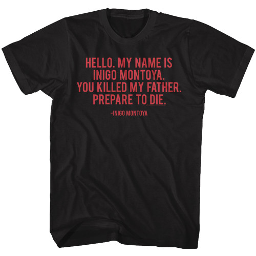 Image for The Princess Bride T-Shirt - Hello My Name Quote