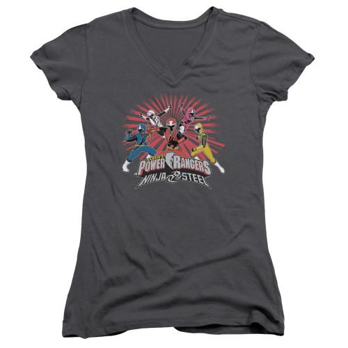 Image for Mighty Morphin Power Rangers Girls V Neck T-Shirt - Ninja Blast