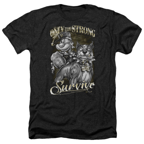 Image for Popeye the Sailor Heather T-Shirt - Only the Strong