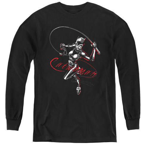 Image for Batman Youth Long Sleeve T-Shirt - Catwoman Kitten with a Whip