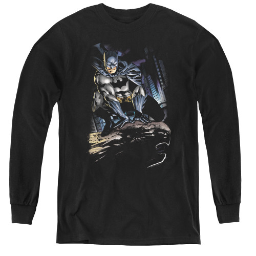 Image for Batman Youth Long Sleeve T-Shirt - Perched