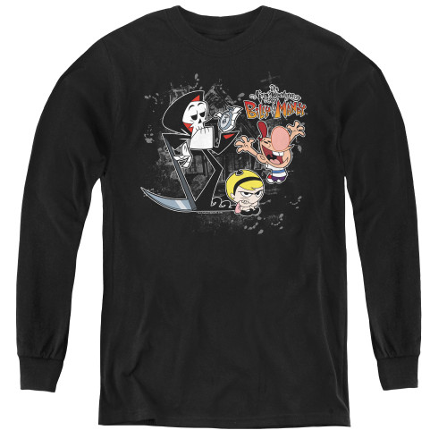 Image for Grim Adventures of Billy and Mandy Splatter Cast Youth Long Sleeve T-Shirt