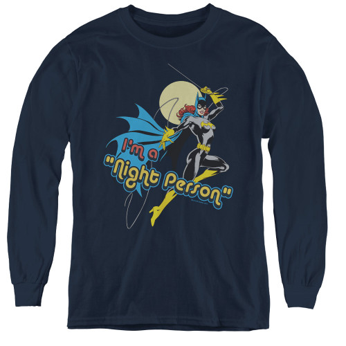 Image for Batgirl I'm a Night Person Youth Long Sleeve T-Shirt