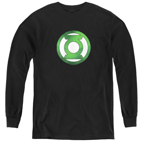 Image for Green Lantern Green Hot Rod Logo Youth Long Sleeve T-Shirt