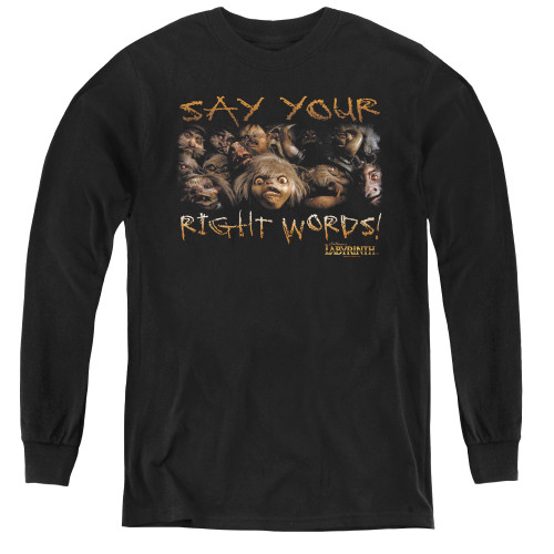 Image for Labyrinth Youth Long Sleeve T-Shirt - Say Your Right Words