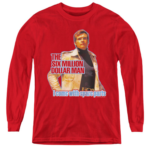 Image for Six Million Dollar Man I Come with Spare Parts Youth Long Sleeve T-Shirt