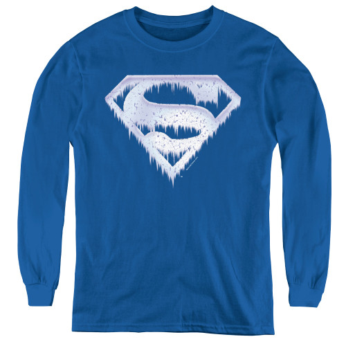 Image for Superman Youth Long Sleeve T-Shirt - Ice and Snow Shield Logo
