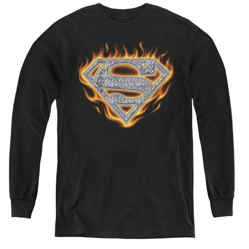 Image for Superman Youth Long Sleeve T-Shirt - Steel Fire Shield Logo