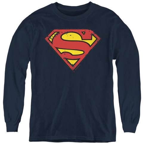 Image for Superman Youth Long Sleeve T-Shirt - Distressed Shield Logo